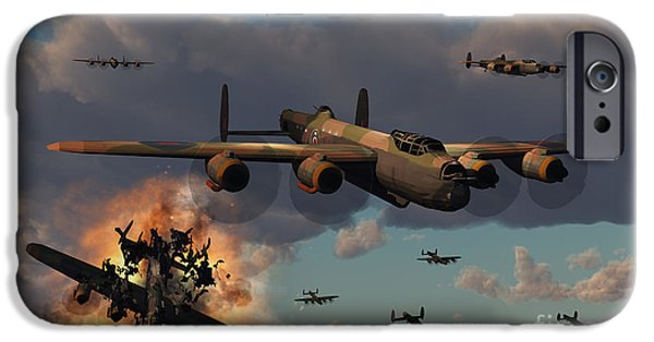 Bombing iPhone Cases - Lancaster Heavy Bombers Of The Royal iPhone Case by Mark Stevenson
