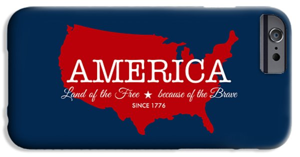 4th Of July Digital iPhone Cases - Land of the Free iPhone Case by Nancy Ingersoll