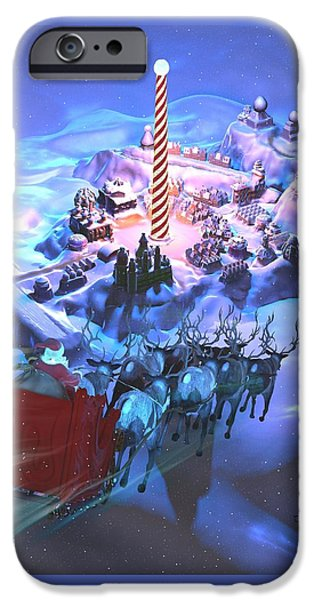 Fun Sculptures iPhone Cases - Landing at the North Pole iPhone Case by Dave Luebbert