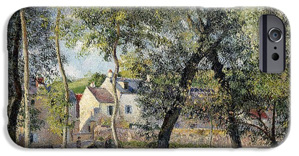 Farm Stand iPhone Cases - Landscape at Osny near the Drinking Trough iPhone Case by Camille Pissarro