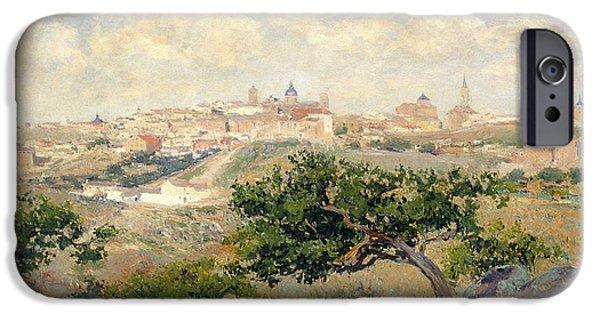 1907 Paintings iPhone Cases - Landscape iPhone Case by Aureliano de  Beruete Moret