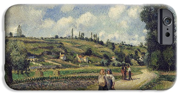 Hill iPhone Cases - Landscape near Pontoise iPhone Case by Camille Pissarro