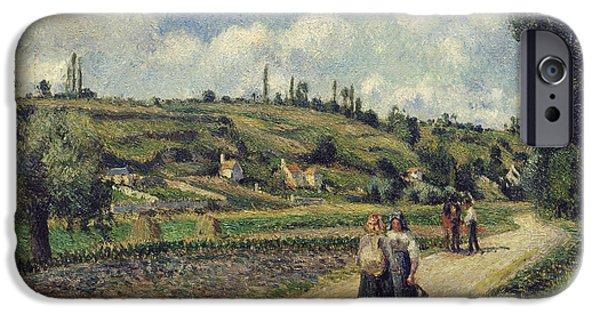 Camille Pissarro iPhone Cases - Landscape near Pontoise the Auvers Road iPhone Case by Camille Pissarro