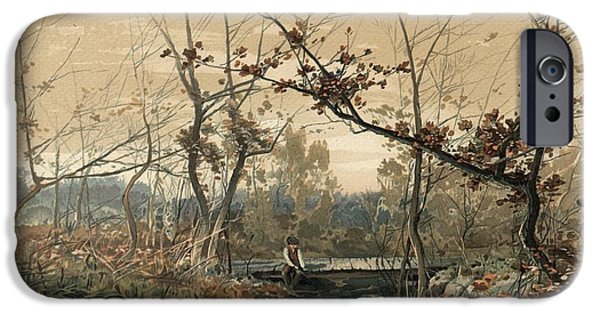 Fall Season iPhone Cases - Landscape Of Boy In Boat On Grassy iPhone Case by Gillham Studios