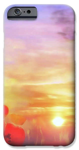 Landscape of dreaming poppies iPhone Case by Valerie Anne Kelly