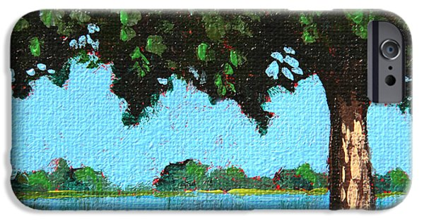 Green Day Paintings iPhone Cases - Landscape With a Lake and tree iPhone Case by Masha Batkova