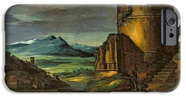 Ruins iPhone Cases - Landscape with a Tomb  iPhone Case by Theodore Gericault
