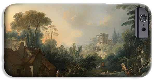 Recently Sold -  - Ruin iPhone Cases - Landscape With A Water Mill iPhone Case by Francois Boucher
