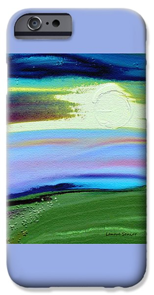 Abstract Digital Paintings iPhone Cases - Landscape with Flower Texture iPhone Case by Lenore Senior