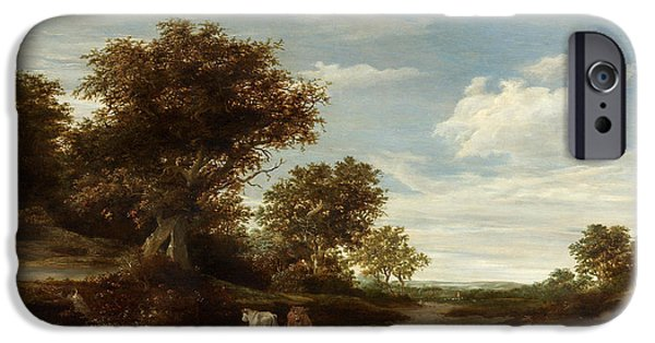 Landscape With Mountains iPhone Cases - Landscape with gracing cows and sheep iPhone Case by Jacob Salomonsz van Ruysdael