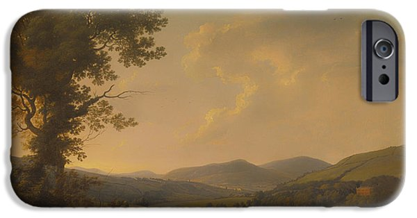 Autumn iPhone Cases - Landscape With Haymakers And A Distant View Of A Georgian House iPhone Case by William Ashford