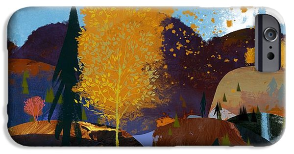 Texture iPhone Cases - Landscape With Hills, Autumn Trees iPhone Case by Ink and Main