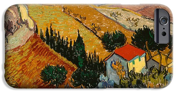 House iPhone Cases - Landscape with House and Ploughman iPhone Case by Vincent Van Gogh