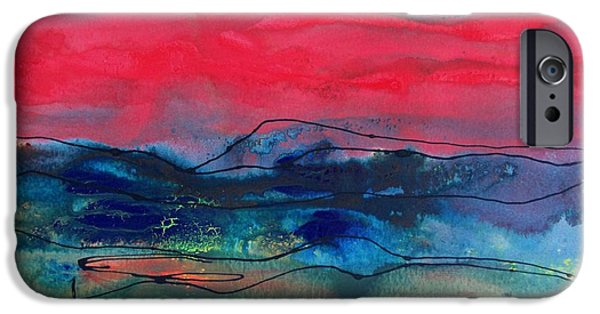 Business Paintings iPhone Cases - Landscape with Red Sky iPhone Case by Louise Adams