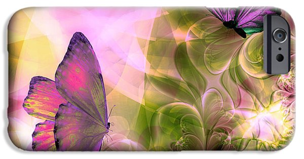 Fractal Paintings iPhone Cases - Languid Journeys iPhone Case by Mindy Sommers