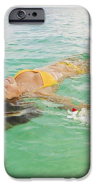Lanikai Floating Woman iPhone Case by Tomas del Amo - Printscapes