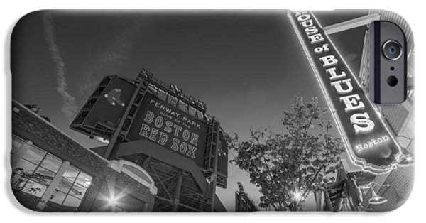 Boston Ma iPhone Cases - Lansdowne street fenway park House of Blues Boston MA Black and White iPhone Case by Toby McGuire