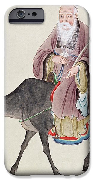 Religious Drawings iPhone Cases - Lao Tzu on his buffalo iPhone Case by Chinese School