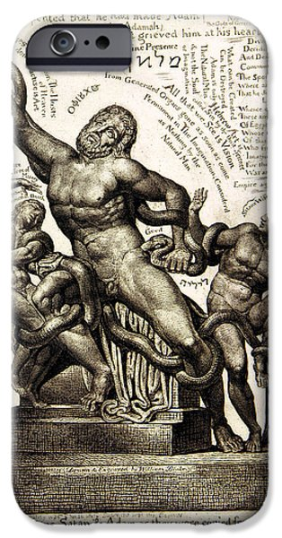 William Blake Drawings iPhone Cases - Laocoon iPhone Case by William Blake