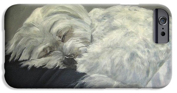 Maltese Puppy iPhone Cases - Lap Dog iPhone Case by Elizabeth  Ellis