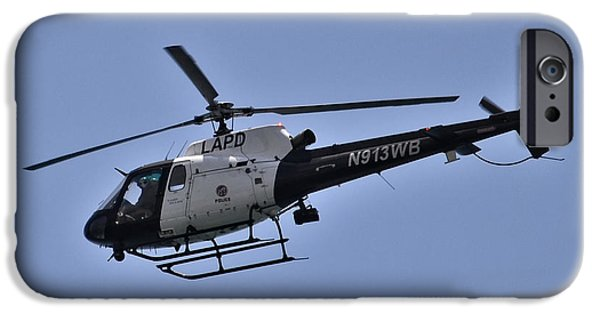 Police Christmas Card iPhone Cases - LAPD Helicopter In Flight iPhone Case by Anthony Murphy