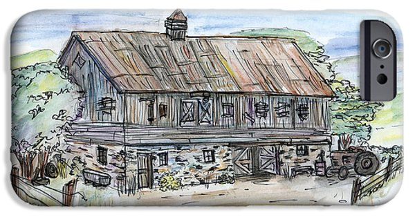 Old Barn Drawing iPhone Cases - Large Old Barn iPhone Case by Albert Calzetta