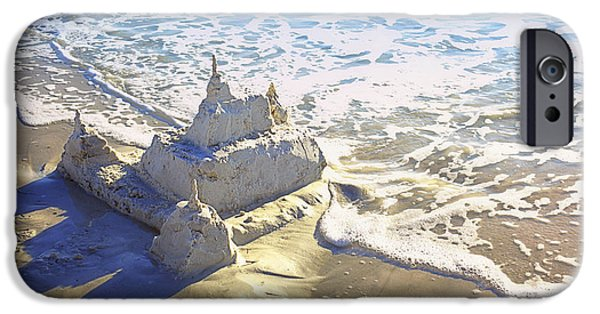 Incoming Tide iPhone Cases - Large Sandcastle on the Beach iPhone Case by Skip Nall