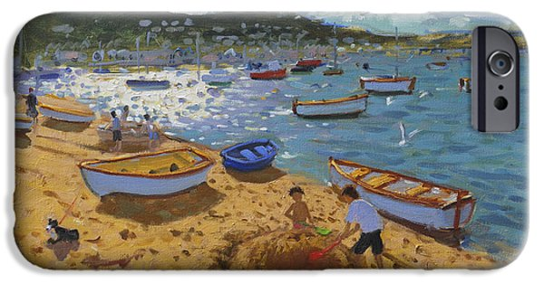 Sand Castles iPhone Cases - Large sandcastle Teignmouth iPhone Case by Andrew Macara