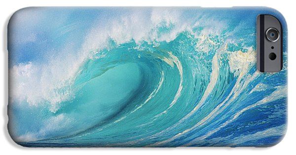 Silver Turquoise iPhone Cases - Large Wave Curling iPhone Case by Ron Dahlquist - Printscapes