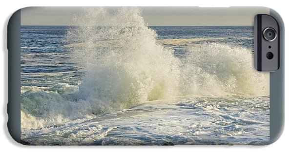 Maine iPhone Cases - Large Waves On Rocky The Coast Of Maine iPhone Case by Keith Webber Jr