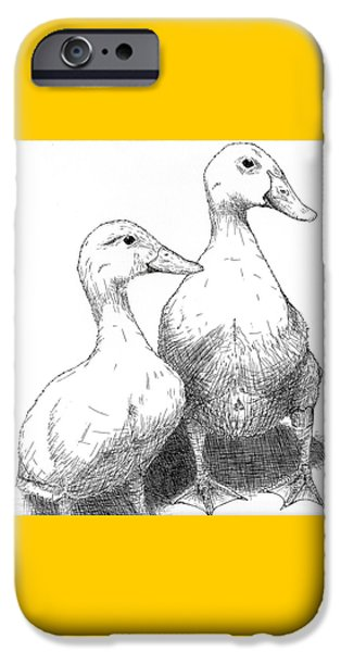Pen And Ink iPhone Cases - Larry and Lucy iPhone Case by Shane Silva