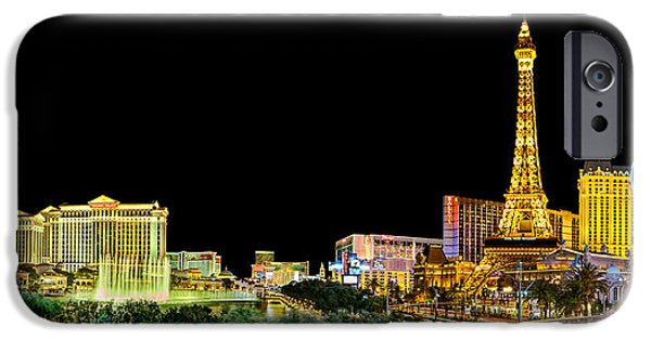 Traffic Sign iPhone Cases - Las Vegas At Night iPhone Case by Az Jackson