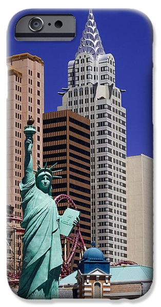 Chip iPhone Cases - Las Vegas New York New York iPhone Case by Super Jolly