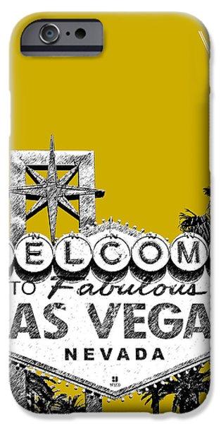 Las Vegas Art iPhone Cases - Las Vegas Welcome to Las Vegas - Gold iPhone Case by DB Artist