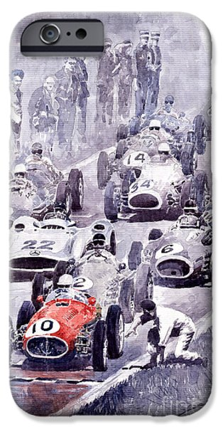 Auto iPhone Cases - Last Control Maserati 250 F France GP 1954 iPhone Case by Yuriy  Shevchuk
