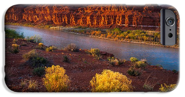 Drama iPhone Cases - Last Light at San Juan River iPhone Case by Inge Johnsson