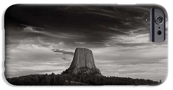 Rock Formation iPhone Cases - Last Light On Devils Tower BW iPhone Case by Steve Gadomski