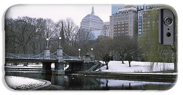 New England Snow Scene Photographs iPhone Cases - Last Snow Of The Season, Boston Public iPhone Case by Panoramic Images