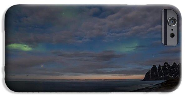 Norway Pyrography iPhone Cases - Last touch of Aurora iPhone Case by Frantz Robert Konradsen