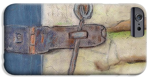 Old Barns Pastels iPhone Cases - Latch I iPhone Case by Len Vincenti