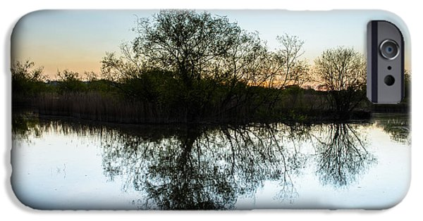 Reflection In Water iPhone Cases - Late Evening Reflections I iPhone Case by Marco Oliveira