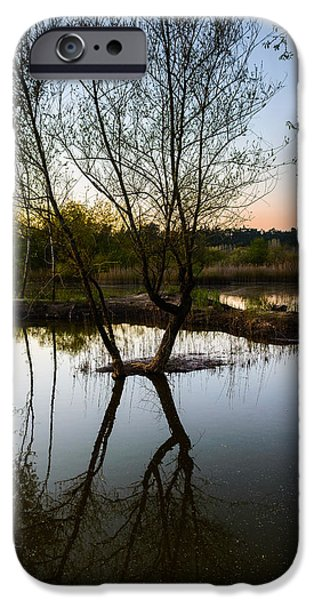 Reflection In Water iPhone Cases - Late Evening Reflections III iPhone Case by Marco Oliveira