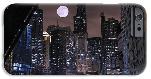 Chicago Cubs iPhone Cases - Late Night in Chicago iPhone Case by Frozen in Time Fine Art Photography