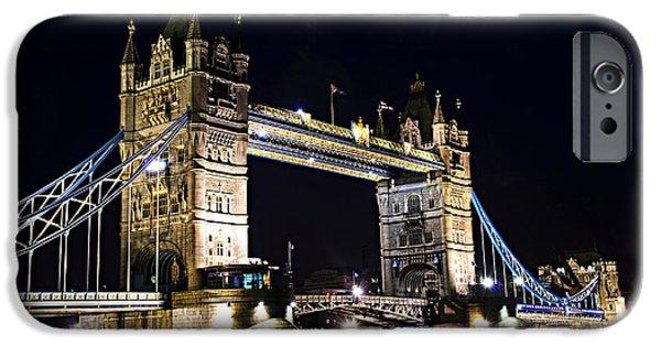 Historic England iPhone Cases - Late night Tower Bridge iPhone Case by Elena Elisseeva