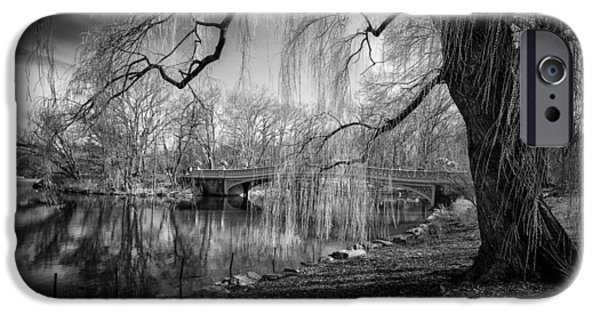 Willow Lake iPhone Cases - Late Winter at Central Parks Bow Bridge iPhone Case by Paul Sommers