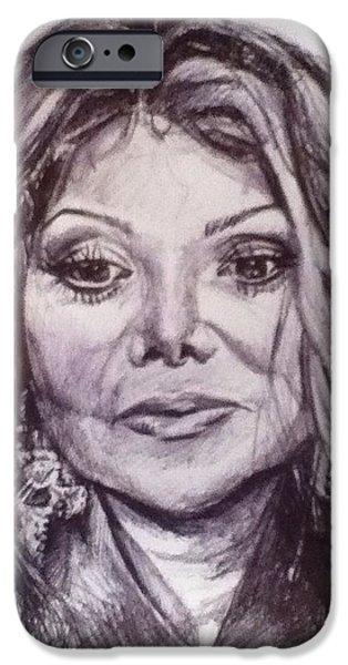 Michael Jackson Sketch iPhone Cases - Latoya Jackson iPhone Case by Billy Jackson
