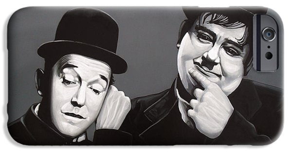 Mess iPhone Cases - Laurel and Hardy iPhone Case by Paul  Meijering