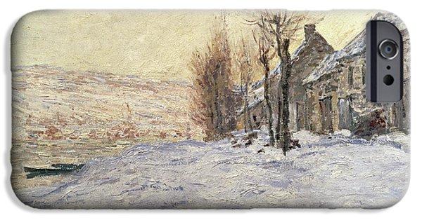 Snow iPhone Cases - Lavacourt under Snow iPhone Case by Claude Monet