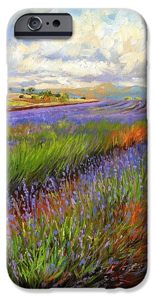 Lavender iPhone Cases - Lavender Field iPhone Case by David Stribbling