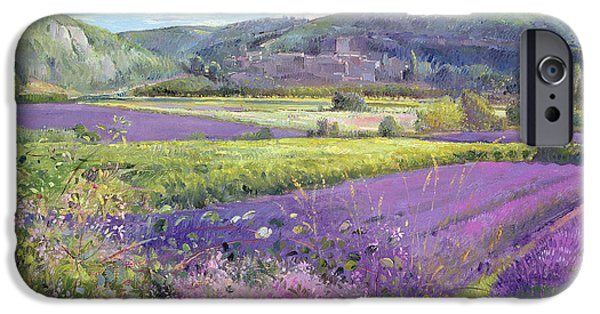 Hill iPhone Cases - Lavender Fields in Old Provence iPhone Case by Timothy Easton